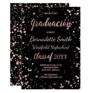 Faux rose gold confetti graduation spanish card
