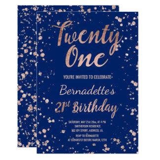 Faux rose gold confetti navy blue 21st Birthday 13 Cm X 18 Cm Invitation Card