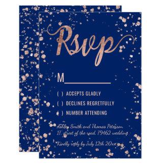 Faux rose gold confetti navy blue RSVP Wedding Card