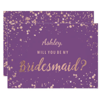 Faux rose gold confetti purple splatter bridesmaid card