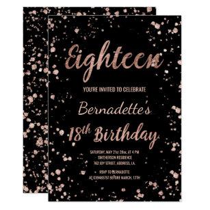 Faux Rose Gold Confetti Splatters 18th Birthday Invitation