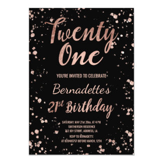Faux rose gold confetti splatters 21st Birthday 13 Cm X 18 Cm Invitation Card