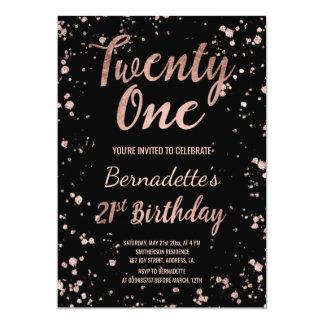 Faux rose gold confetti splatters 21st Birthday 13 Cm X 18 Cm Invitation Card
