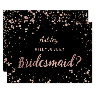 Faux rose gold confetti splatters bridesmaid card