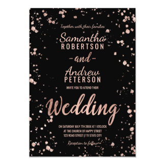 Faux rose gold confetti splatters script wedding card
