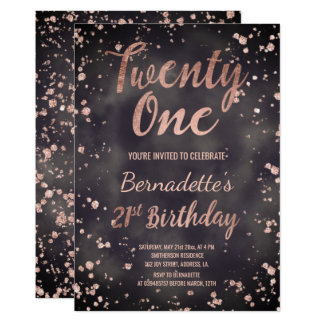 Faux rose gold confetti watercolor 21st Birthday Card
