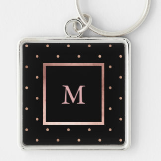 Faux Rose Gold Dots on Black Monogram Silver-Colored Square Key Ring