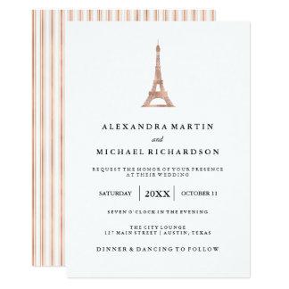 Faux Rose Gold Elegant Eiffel Tower Wedding Card