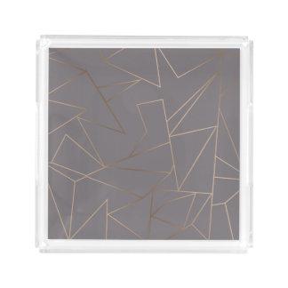 Faux rose gold elegant modern minimalist geometric acrylic tray