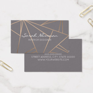Faux rose gold elegant modern minimalist geometric business card