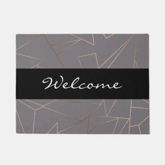 Faux rose gold elegant modern minimalist geometric doormat