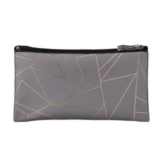 Faux rose gold elegant modern minimalist geometric makeup bag