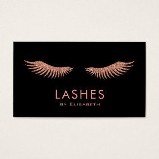 faux rose gold eyelashes business card