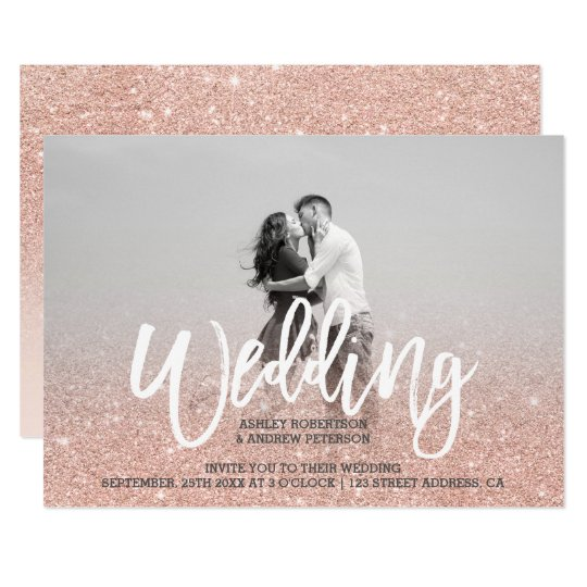 Faux rose gold faux glitter pink photo wedding card
