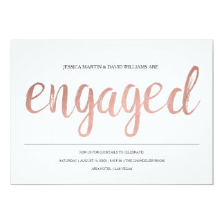 Faux Rose Gold Foil Engaged Card