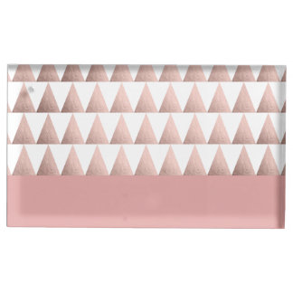 faux rose gold foil geometric triangles pattern table card holders