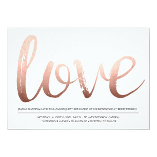 Faux Rose Gold Foil Love Card