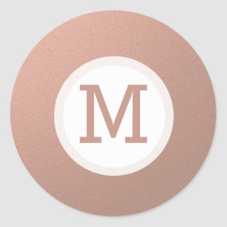 Faux Rose Gold Foil Monogram  Initial Seal Round Sticker