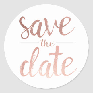 Faux Rose Gold Foil Save the Date Round Sticker
