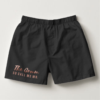 Faux Rose Gold Foil The Groom Wedding Underwear Boxers