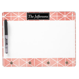 Faux Rose Gold Foil Traingle Pattern Dry Erase Board With Key Ring Holder