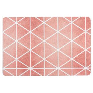 Faux Rose Gold Foil Traingle Pattern Floor Mat
