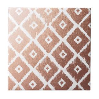 Faux Rose Gold Foil Tribal Pattern Ceramic Tile