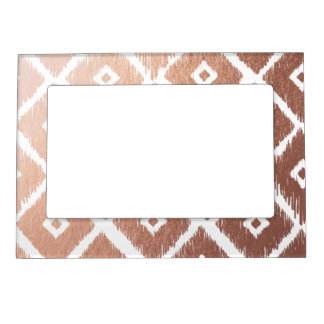 Faux Rose Gold Foil Tribal Pattern Magnetic Picture Frame