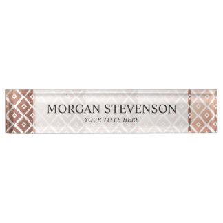 Faux Rose Gold Foil Tribal Pattern Name Plate