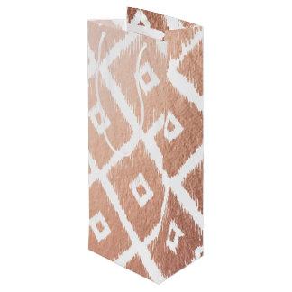 Faux Rose Gold Foil Tribal Pattern Wine Gift Bag