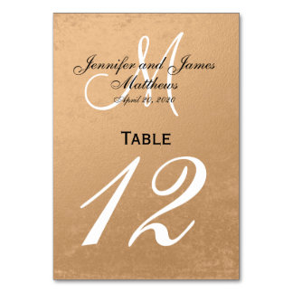 Faux Rose Gold Foil Wedding Table Number Card Table Card