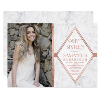 Faux rose gold frame marble photo Sweet 16 Card