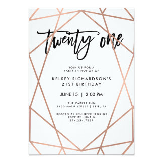 Faux Rose Gold Geometric | 21st Birthday Party Card