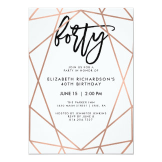 Faux Rose Gold Geometric | 40th Birthday Party Card