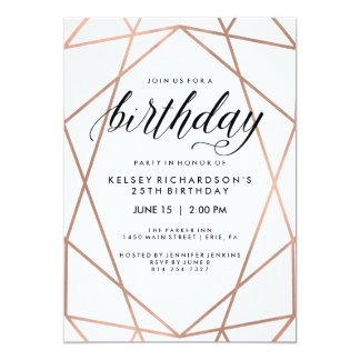 Faux Rose Gold Geometric Lines | Birthday Party 13 Cm X 18 Cm Invitation Card