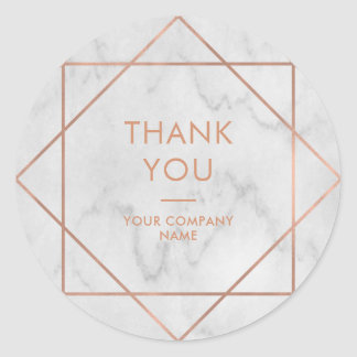 Faux Rose Gold Geometric on Marble | Thank You Classic Round Sticker
