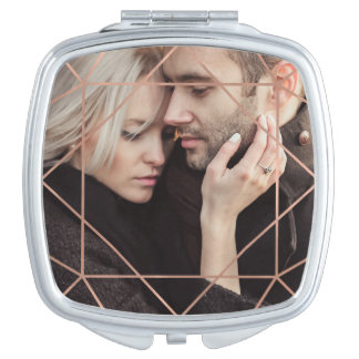 Faux Rose Gold Geometric Overlay with your Photo Travel Mirror