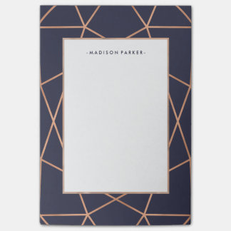Faux Rose Gold Geometric Pattern on Midnight Blue Post-it Notes