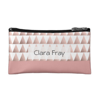 faux rose gold geometric triangles pattern cosmetic bag