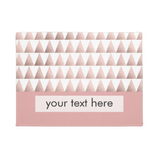 faux rose gold geometric triangles pattern doormat