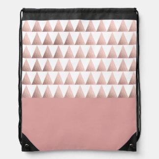 faux rose gold geometric triangles pattern drawstring bag