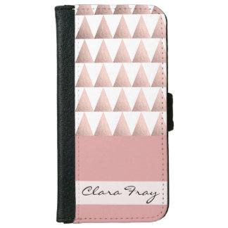 faux rose gold geometric triangles pattern iPhone 6 wallet case