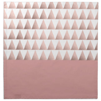 faux rose gold geometric triangles pattern napkin