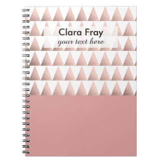 faux rose gold geometric triangles pattern notebook