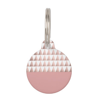 faux rose gold geometric triangles pattern pet tag