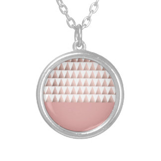 faux rose gold geometric triangles pattern silver plated necklace