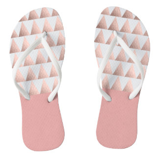 faux rose gold geometric triangles pattern thongs