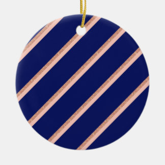 faux rose gold glitter and pink stripes pattern ceramic ornament