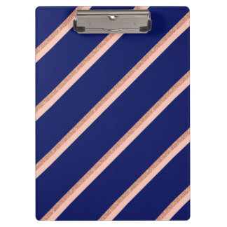 faux rose gold glitter and pink stripes pattern clipboard