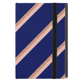 faux rose gold glitter and pink stripes pattern cover for iPad mini